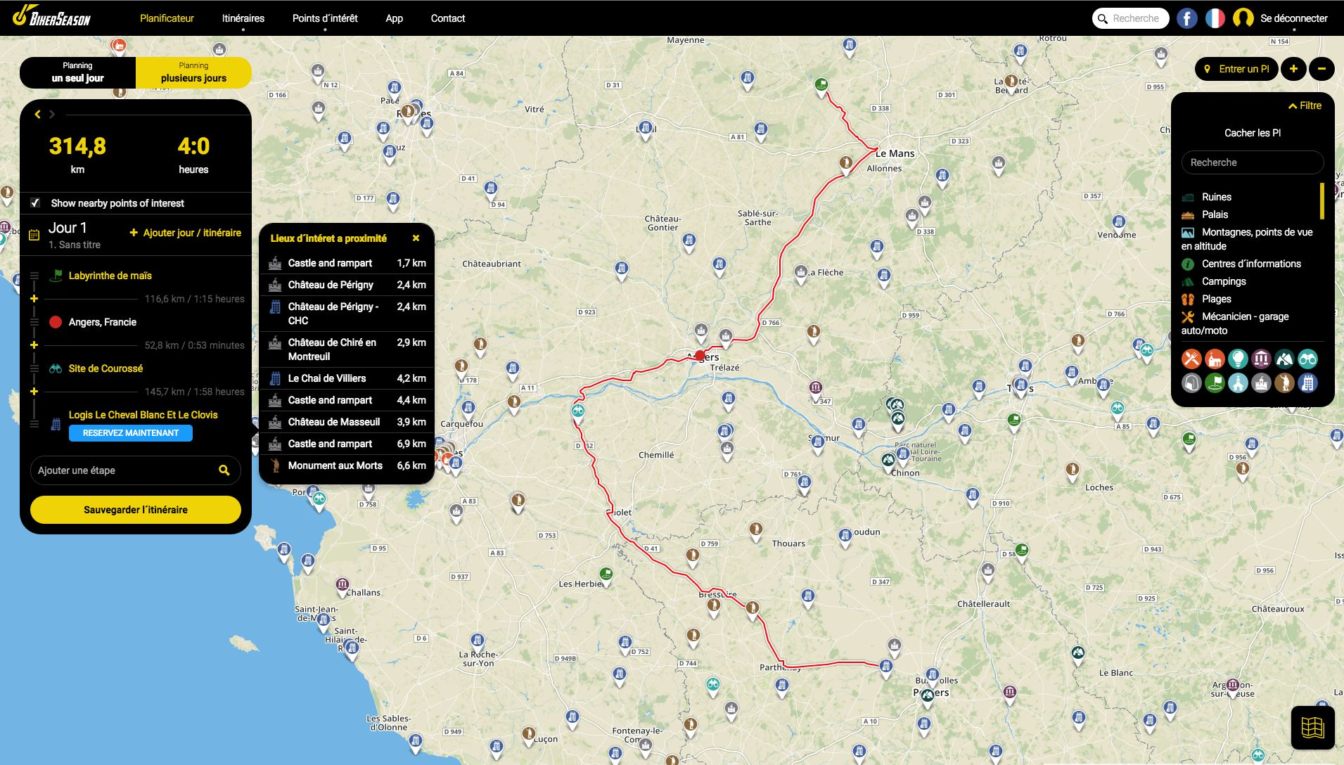 Planificateur d´itinéraire interactif sur l'application BikerSeason