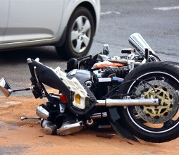 the motorbike accident on the city street